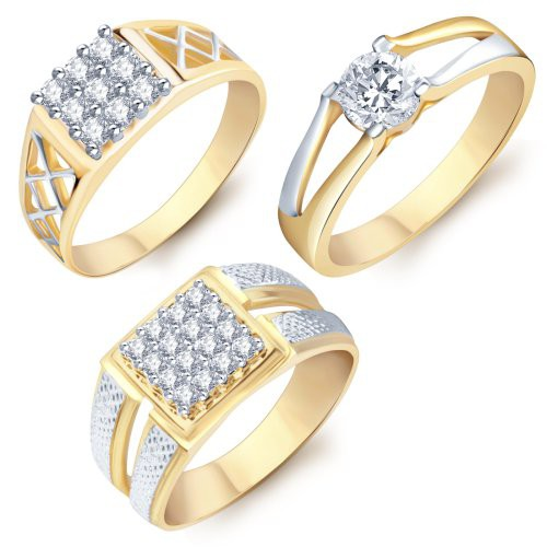 Craftsvilla Incredible Gold & Rhodium Plated Cz Set Of 3 Ring Combo For Men