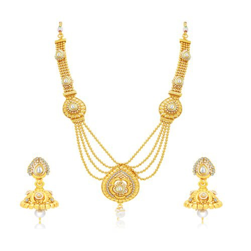 Craftsvilla Marvellous 4 String Gold Plated Bridal Necklace Set