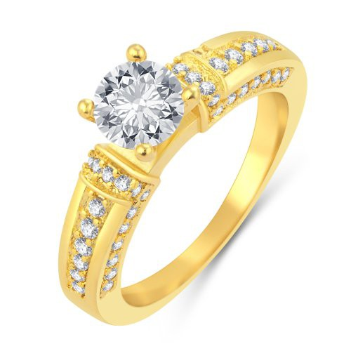 Craftsvilla Fashionable Gold Plated Solitaire Ring