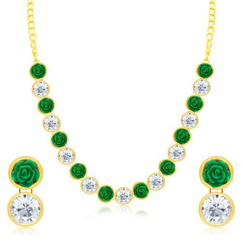 Craftsvilla Appealing Flower Gold Plated Ad Necklace Set