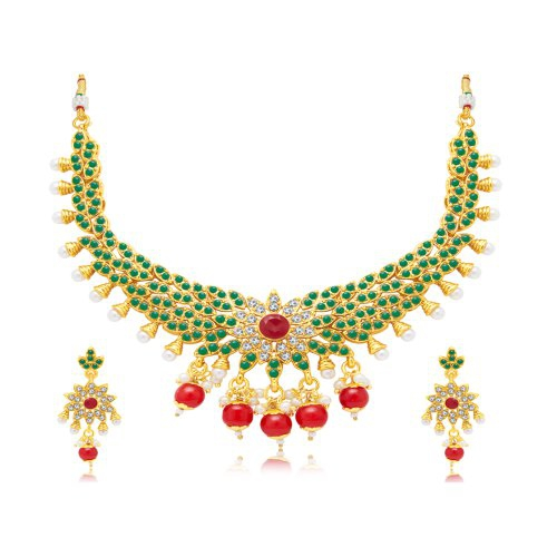 Craftsvilla Pretty Solitaire Gold Plated Choker Necklace Set For Women