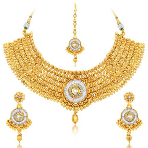 Craftsvilla Wavy Gold Plated Ad Necklace Set