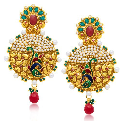 Craftsvilla Traditionally Peacock Gold Plated Dangle Earring