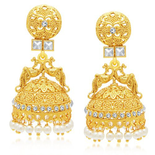 Craftsvilla Beguiling Peacock Gold Plated Jhumki Earring