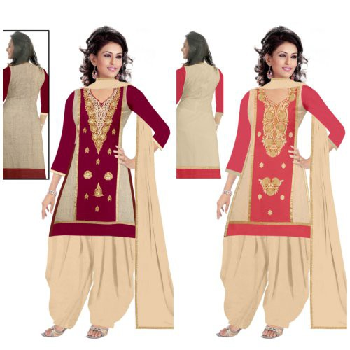 384c34e670 Hd Design Zone Women\'s Clothing Designer Party Wear Low Price Sale Offer  Maroon & Beige Colore , Pink & Cream Cotton Embroidered Free Size Salwar  Kameez ...