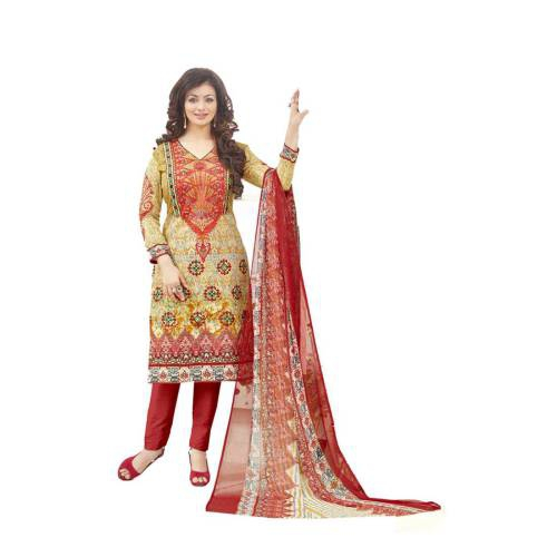d88f698062 Vaidehi Creation Yellow Embroidered Cotton Salwar Suit With Dupatta