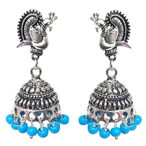 Antique Finish Oxidized German Silver Plated Light Weight Daily Wear Jhumka Jhumki Silver Tone Pearl Earrings In Rajasthani / Jaipur Vintage Style