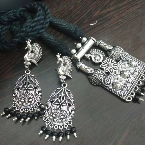 Choker Necklace Handmade Tribal Oxidized White Metal Black Dori Work For Girls And Women