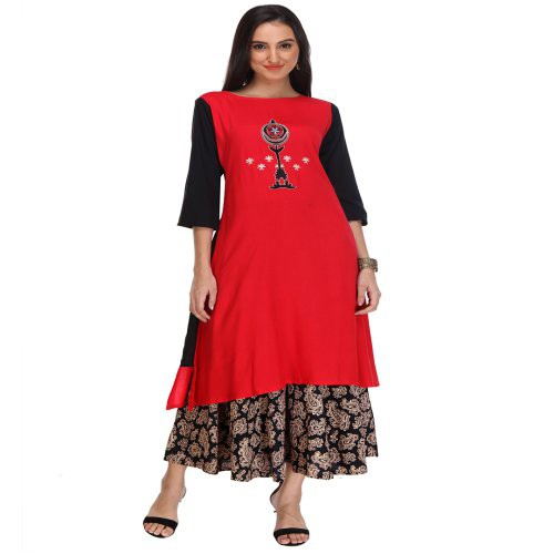 Anuswara Red And Black Embroidered Rayon Kurti