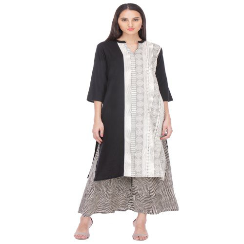 Anuswara White And Black Color Printed Rayon Kurti