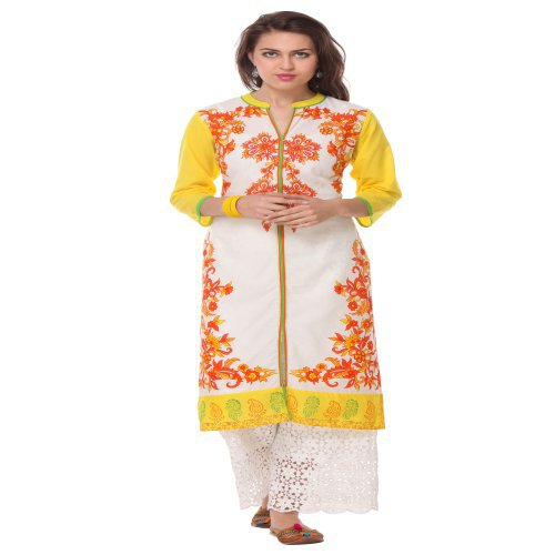 Anuswara White Printed Cotton Chinese/mandarin Collar 3/4 Sleeve Straight Kurta