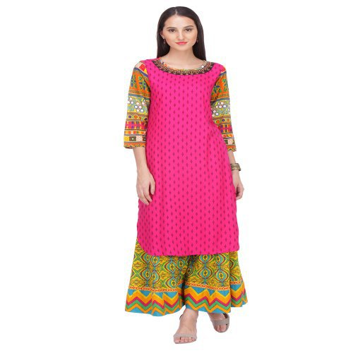 Anuswara Fuschia Embroidered Rayon Round Neck 3/4 Sleeve Straight Kurta
