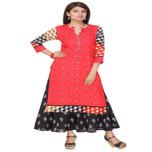 Anuswara Red Color Printed Rayon Kurti