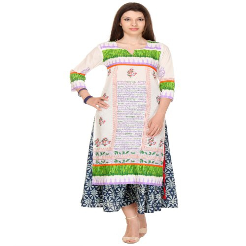 Anuswara White And Green Color Printed Cotton Kurti