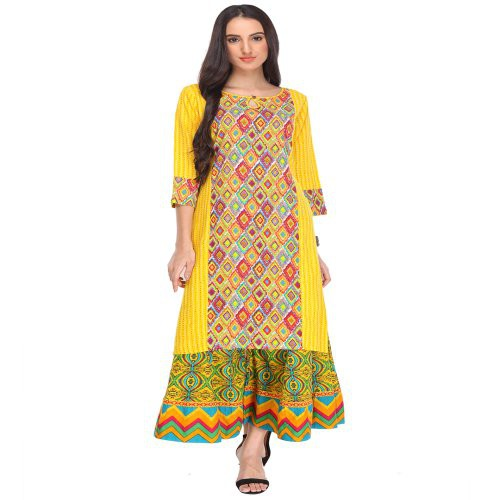 Anuswara Yellow And Multi Printed Rayon Round Neck 3/4 Sleeve Straight Kurta