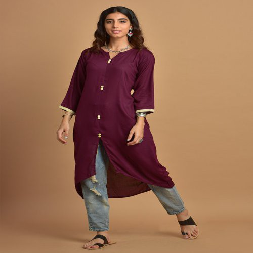 Plain Plum Assymetric Kurti With Notched Round Neck 3/4th Sleeves