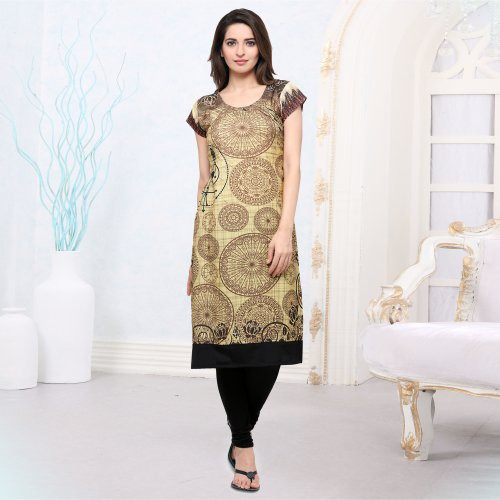 Beige And Black Crepe Printed Straight Kurti