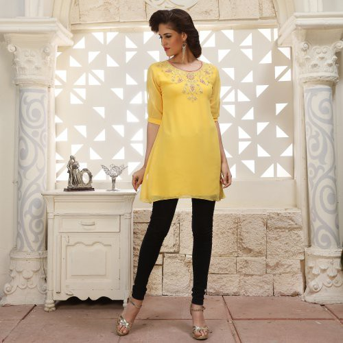 Yellow Georgette Embroidered A Line Style Kurti
