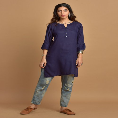 Plain Navy Blue Kurti With Notched Round Neck & 3/4th Sleeves