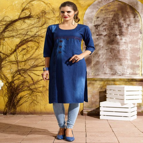 Blue Cotton Blend Embroidered A Line Style Denim Kurta