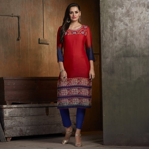 Red Georgette Embroidered Calf Length Kurti