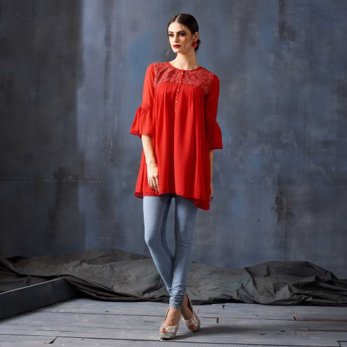 Red Georgette Embroidered Medium Straight Kurti