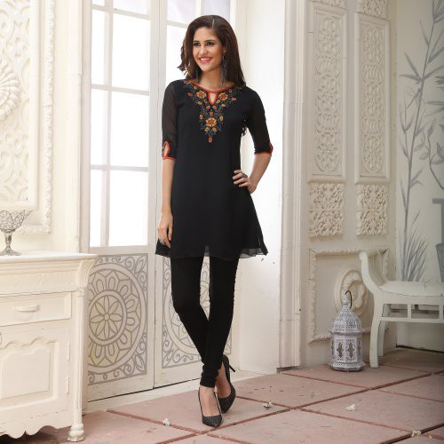 Black Georgette Embroidered A Line Style Kurti