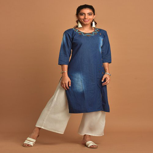 Navy Blue Discharge Printed Denim Kurti With Round Embroidered Neck & 3/4th Sleeves