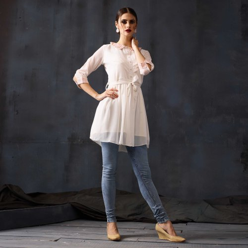 White Georgette Embroidered Medium Straight Kurti