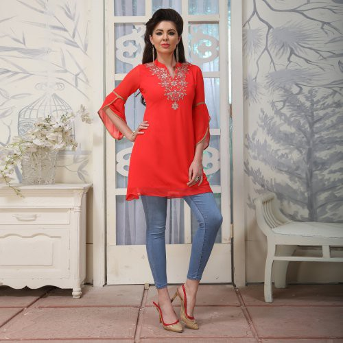 Pink Georgette Embroidered A Line Style Kurti
