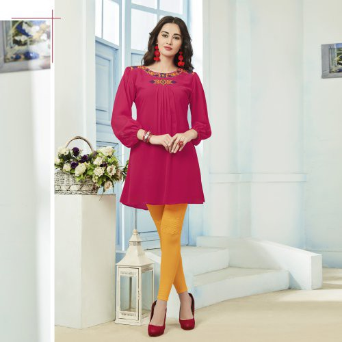 Pink Georgette Embroidered Straight Kurti