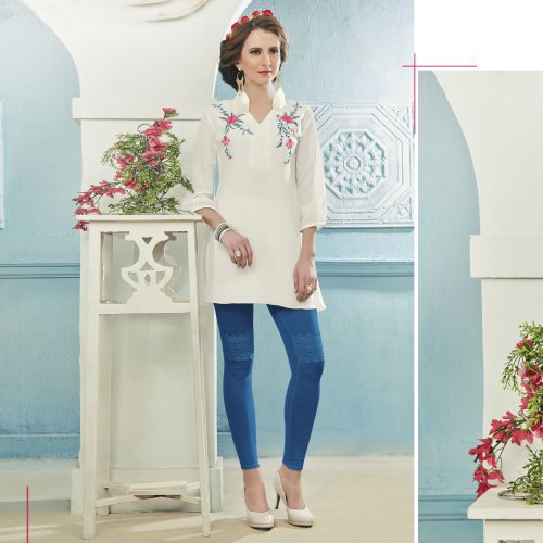 White Georgette Embroidered Straight Kurti