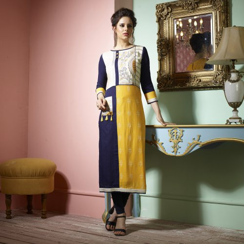 Mustard And Navy Rayon Embroidered Calf Length Straight Kurti