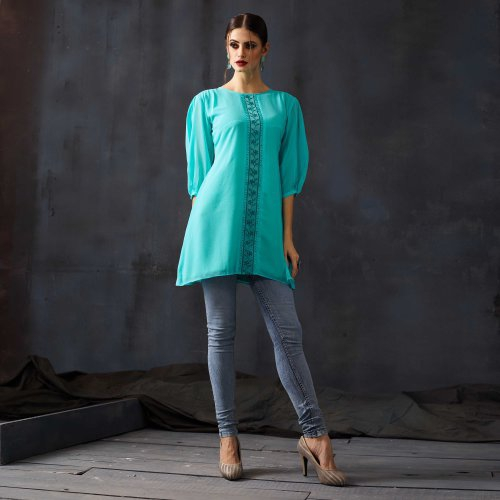 Green Georgette Embroidered Medium Straight Kurti