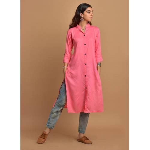 Plain Pink Buttoned-down Shirt Style Kurti With 3/4th Sleeves