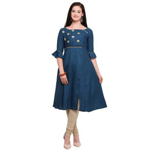 Teal Blue Rayon Embroidered A Line Style Kurti