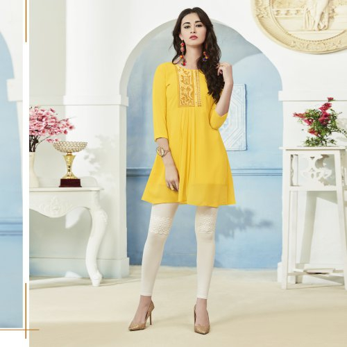 Yellow Georgette Embroidered Straight Kurti