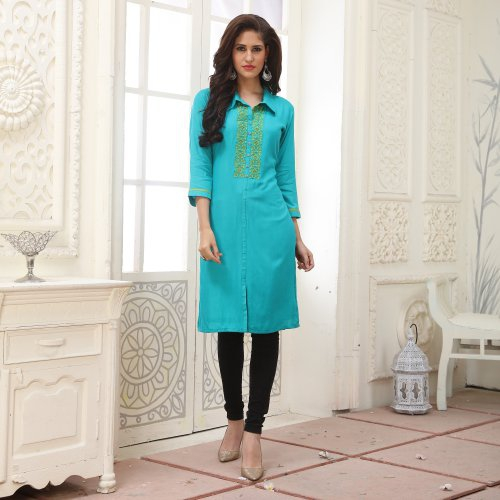 Green Rayon Embroidered A Line Style Kurti