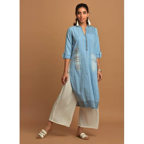 Sky Blue Denim Kurti With Patch-work Detailing & 3/4th Sleeves