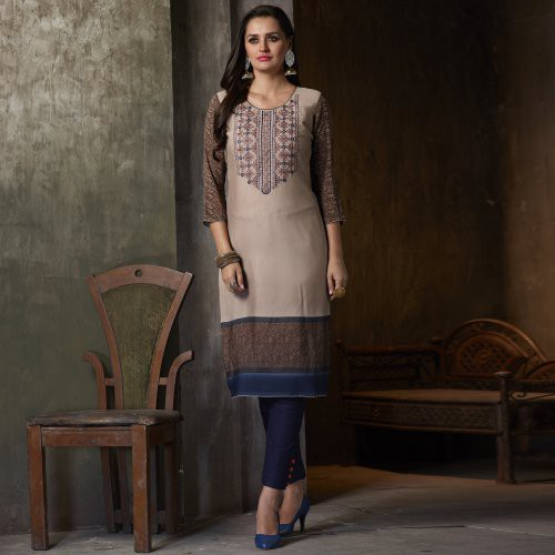 Grey Georgette Embroidered Calf Length Kurti