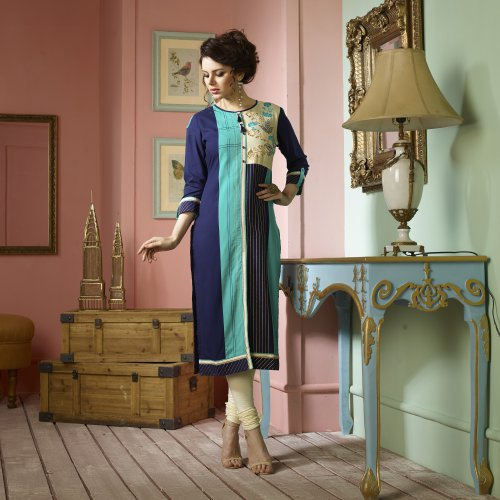 Navy Rayon Embroidered Calf Length Straight Kurti