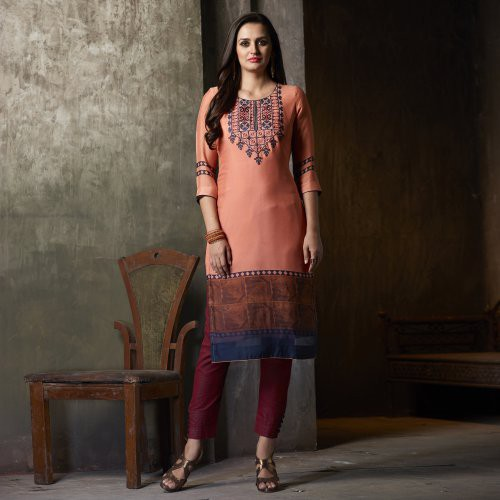 Peach Georgette Embroidered Calf Length Kurti