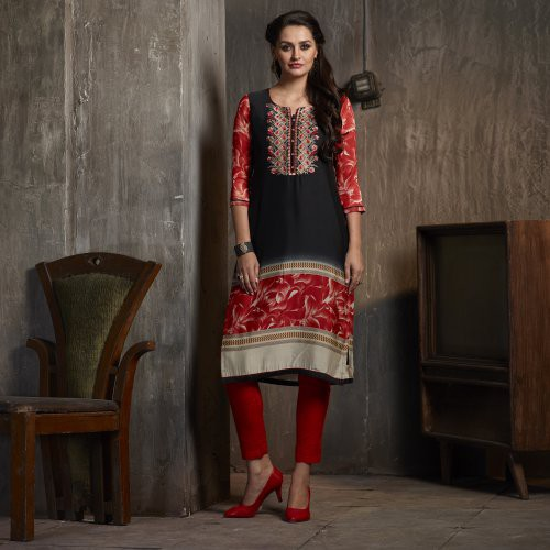 Black Georgette Embroidered Calf Length Kurti
