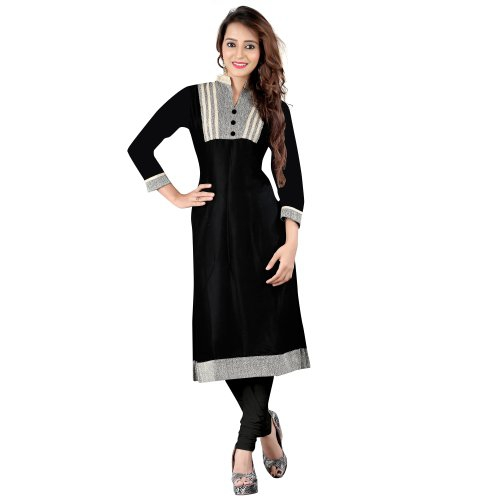 Black & Grey Rayon & Jute Cotton Kurti