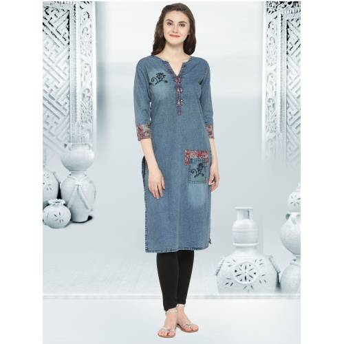 Light Blue Denim Kurta With Embroidery And Pocket For Wear