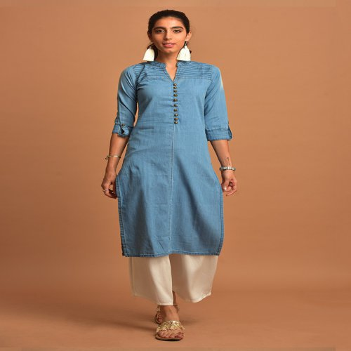 Sky Blue Denim Kurti With Notched Round Neck & 3/4th Sleeves