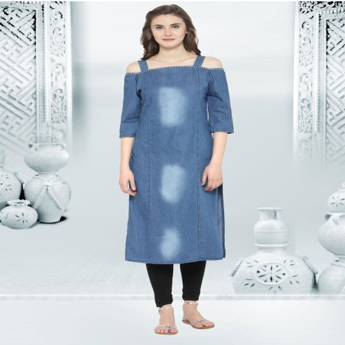 Blue Denim Kurta Embellished With Beads On Neck Line