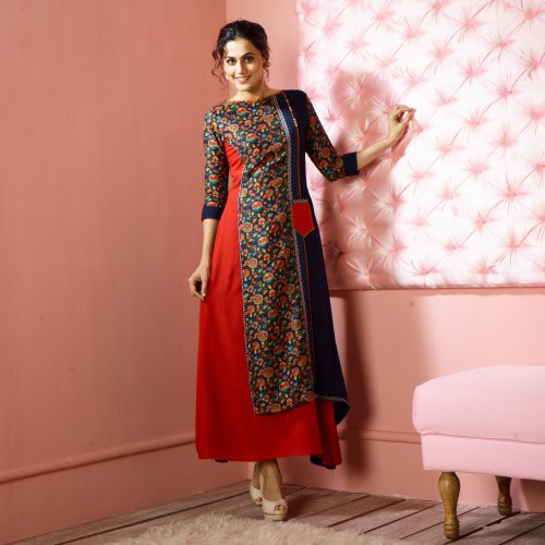 Red Silk Printed Calf Length A Line Style Kurti