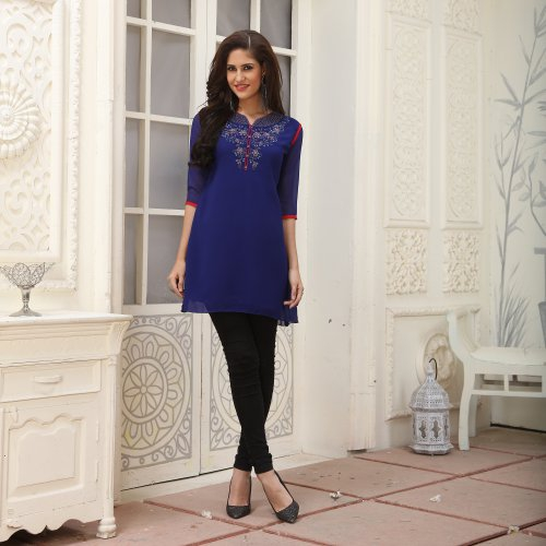 Blue Georgette Embroidered A Line Style Kurti