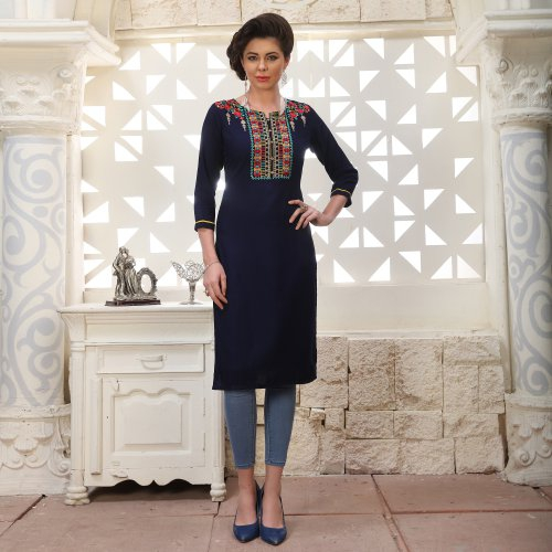 Blue Rayon Embroidered A Line Style Kurti